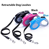 Retractable Dog Leash for Puppies and Small to Medium Dogs Tangle Free Heavy Duty Anti Slip Handle Comfortable Hand Grip Eco Friendly Walking Leash 5m ( 16 ft ) long one button brake and lock (Pink)
