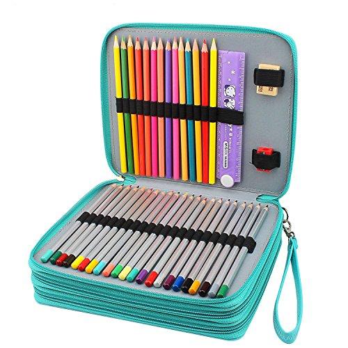 Kekefo 120 Slots Pencil Case Prismacolor Premier colored pencils Pencil Wrap Large Capacity Pen Bag