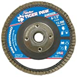 Weiler 51114 Tiger Paw High Performance Abrasive Flap Disc, Type 27 Flat Style, Phenolic Backing, Zirconia Alumina, 4-1/2'' Diameter, 5/8''-11 Arbor, 60 Grit, 13000 RPM (Pack of 10)