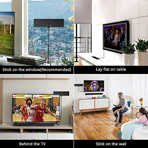 [2019 Latest] HDTV Antenna TV Antenna Indoor-50 Miles Range Support 4K 720P 1080i 1080p/ATSC & Older TVs   Antenna for Digital TV Indoor-Ultra Thin TV Antenna,Free Local HDTV Channels-10FT Coax Cable