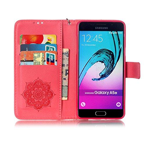 SRY-Funda móvil Samsung Funda Samsung Galaxy A510, cubierta de la caja del soporte del tirón del cuero de la PU con la muñeca de la mano y ranuras para tarjeta de efectivo / soporte para Samsung Galax Red