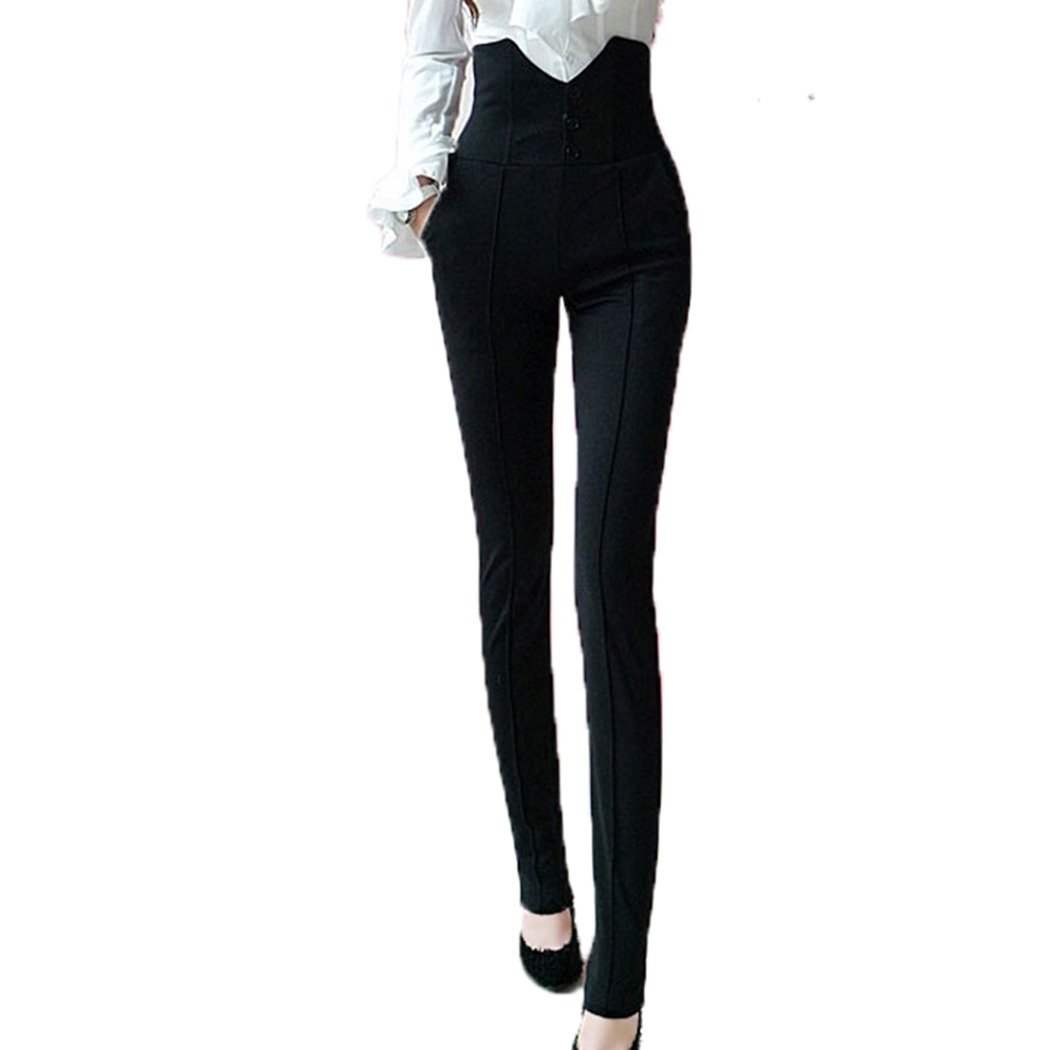 Women Soft Cotton Stretch Fitted Jegging Style Leggings Button Skinny Pants