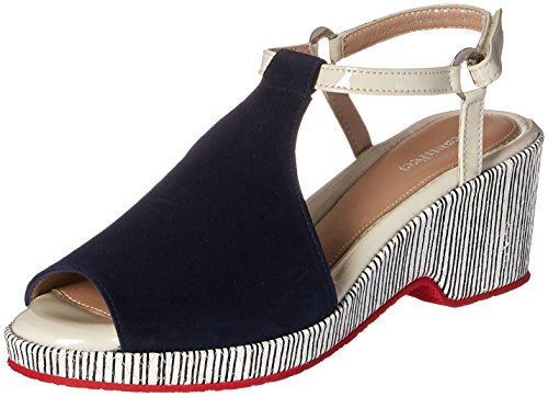 BeautiFeel Women's Kya Sandal, Navy Suede/Line Art, 360 M EU (5 (Beautifeel Sandals)