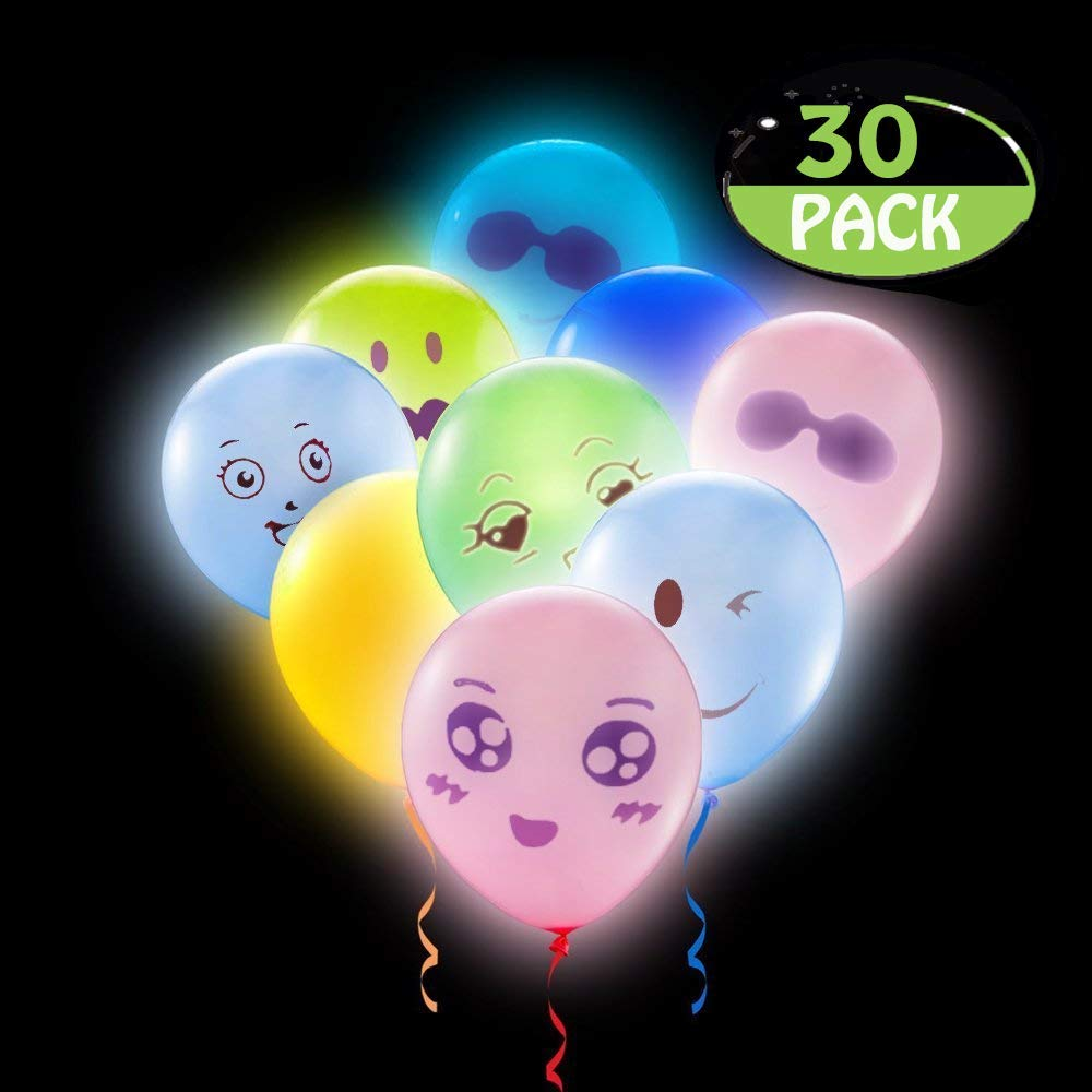 POKONBOY 50PCS LED Light Up Balloons with Mixed Color and Emoji for Christmas, Birthday Party, Wedding, Festival Christmas Party Decorations LED Balloons