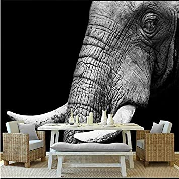 Black And White Elephant Custom Photo 3D Wall Murals