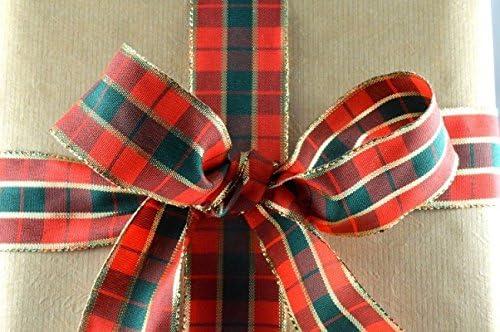 Rouge et Vert Tartan Ruban avec bord dor/é 40/mm de large x 20/m rouleau