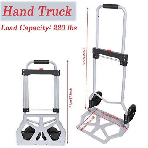 Folding Hand Truck, Aluminum Portable Foldable Rolling Luggage Dolly Trolley Cart for Shopping Industrial, 220 lbs Capacity by Rampmu