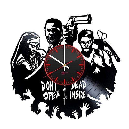 Zombie Gun HANDMADE Vinyl Record Wall Clock - Get unique living room wall decor - Gift ideas for adults and youth – Horror Movie Characters Unique Modern Art