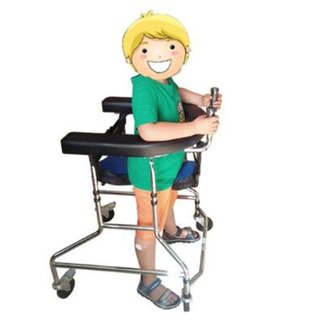 Standard Walkers Walker High and Low Adjustable Walker Cerebral Palsy Child Rehabilitation Exercise Disabled Wheel Foldable Rehabilitation Walker (Color : Silver, Size : 77-39cm) by Standard Walkers