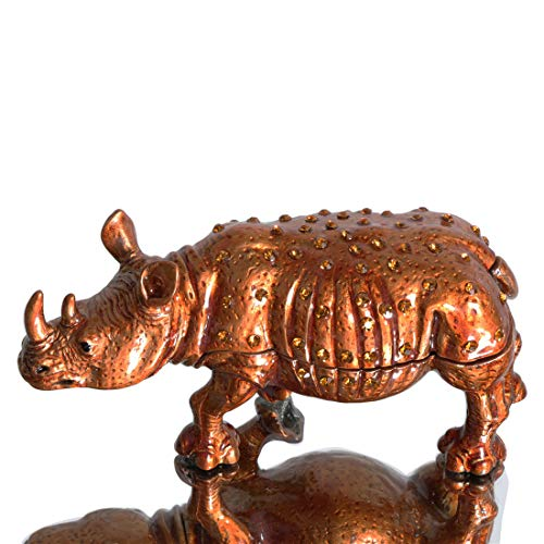 Waltz&F Rhinoceros Trinket Box Hinged Hand-Painted Figurine Collectible Ring Holder Living Ornaments Shooting Props