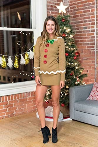Women Christmas party dresses with festive designs, Gingerbread mini long sleeve dress for party