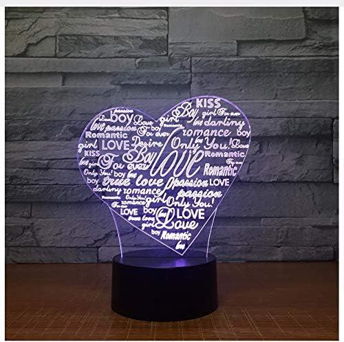 Forma De La Letra Del Corazón Acrílico Led Lámpara 3D Usb 7 Color Luz De Noche Iluminación Para Dormir Lámpara De Ambiente Romántico Decoración Para El Hogar: Amazon.es: Iluminación