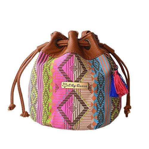 Vendimia Hombro Multicolor Estilo Totalizador Bolsa Mujere Bolsa Balde De DELEY Étnico Bolso PwBvq5x