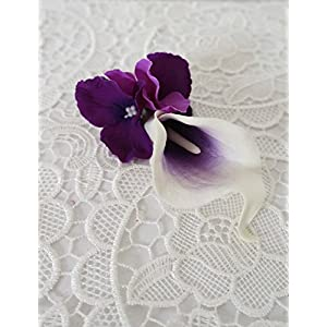 Sweet Home Deco Real Touch Calla Lily Wedding Bride Bouquet/ Boutonniere/ Corsage Artifiial Flower Wedding Flower Package (Purple-Boutonniere) 9