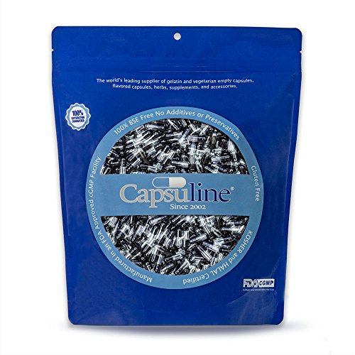 Colored Size 4 Empty Gelatin Capsules by Capsuline - Black/Clear 1000 Count
