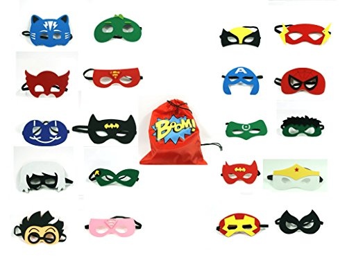 Superhero Party Supplies Superhero Masks - for Kids - Custom Design Superhero Bag - 20 PCs Different Party Favors Cosplay for Boys and Girls - Party Masks Photo Booth Props