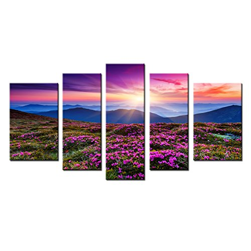 5 Panels Modern Wall Art Painting Landscape Canvas Painting Giclee Artwork For Home Decor With Stretched And Framed (Purple)