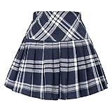 Belle Poque Navy and White Tartan Mini Skirt Pleated Skater Skirt Elastic Waist