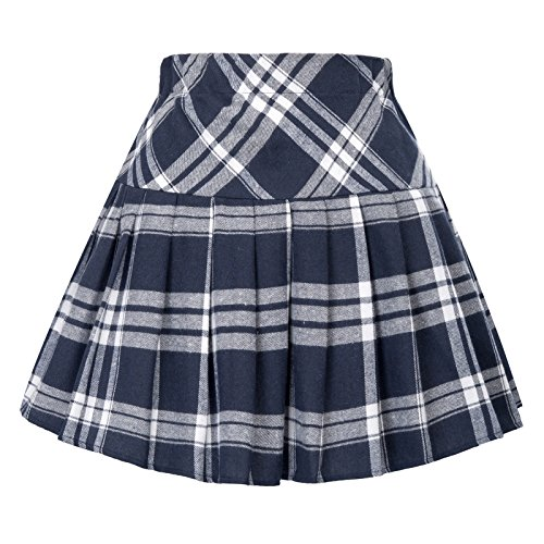Check Mini Skirt (Belle Poque White and Navy Mini Skirt Elastic Waist Check Skirt School Girl Outfit)