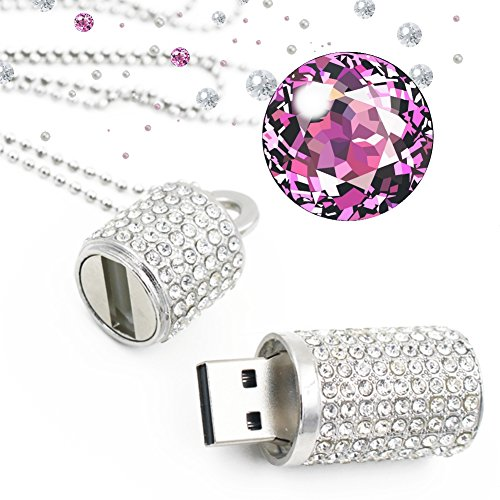 Techkey USB Flash Drive,Bling Rhinestone Diamond Crystal Glitter Lipstick Case Shining Jewelry Necklace,64GB,Pure Silver