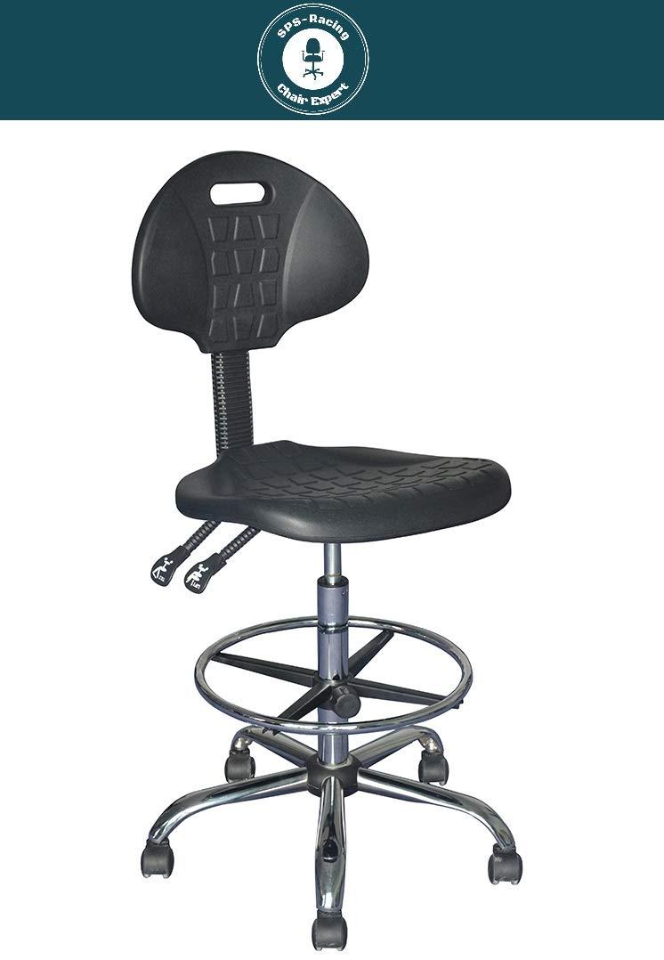 Arbeitsstuhl - OPERATOR - mit mit mit Lehne - hochwertiger ergonomischer Bürodrehstuhl, höhenverstellbarer Arbeitshocker, Drehhocker mit verstellbarem Fußring und Stahlgestell, Werkstattstuhl, Lagerstuhl 02d44b