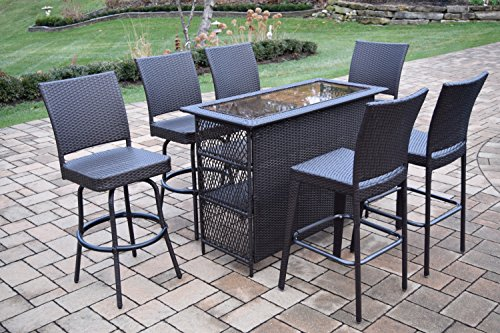 Oakland Living Ice Cooler Carts Elite All Weather Resin Wicker 7 Piece Bar Set with 2 Bar Stools and 4 Swivel Bar Stools, Coffee