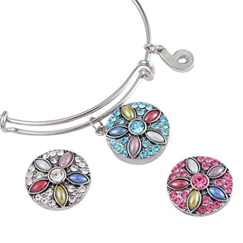 Souarts Mixte Bouton à Pression pour Bracelet Motif Fleur Strass 3PCS