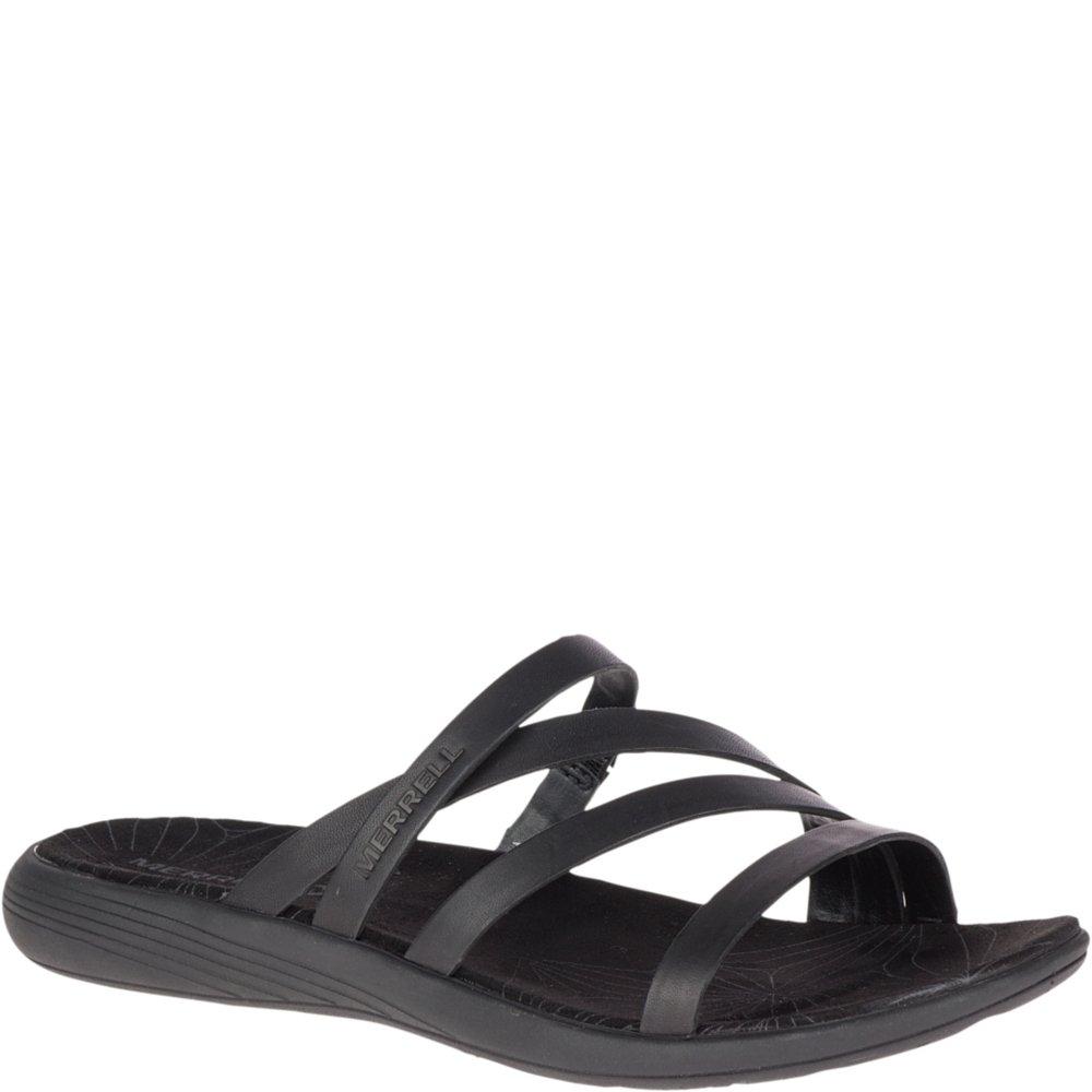 Merrell Women's Duskair Seaway Leather Slide Sandal, Black, 8 Medium US