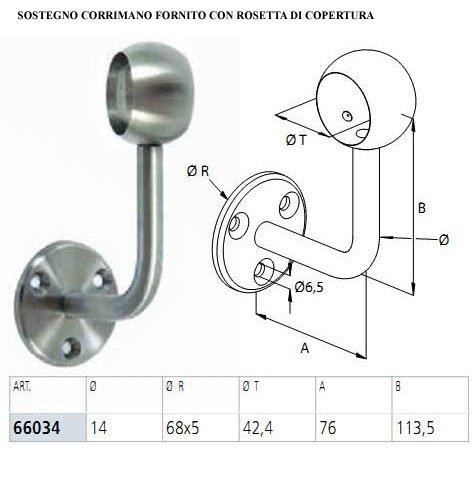 2750 mm. CORRIMANO IN ACCIAIO INOX AISI 304 /Ø42.4MM FACILE COMPLETO DI ACCESSORI