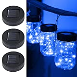 Solar Powered Mason Jar Lights,Plastic Mason Jar String Lights 20 LED Bulbs Solar Mason Jar Lids Fairy String Lights with Solar Panel for Backyard Landscape Outdoor Jar Decor(3 Pack)-Aolvo