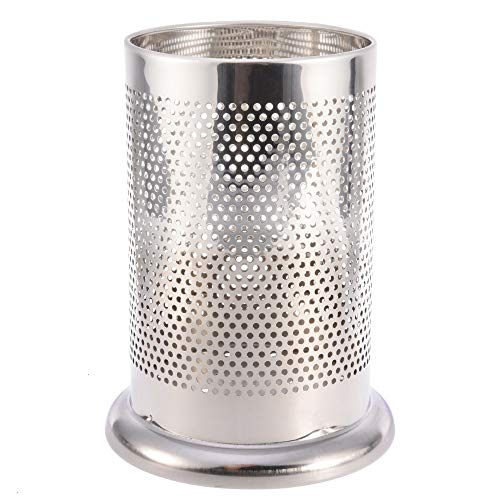 Utensil Holder, 1 PC Stainless Steel Utensil Crock Rust-Proof Kitchen Tool Organizer Flatware Caddy with Drain Holes for Wooden Spoons Whisks Soup Ladles Tongs Chopsticks
