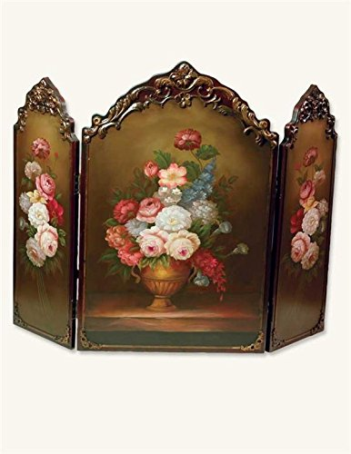 Victorian Trading Co Scarborough Hand Painted Floral Fireplace - Floral Fireplace Screen