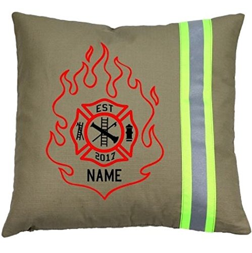 Fully Involved Stitching Firefighter Personalized Tan Throw Pillow with Flame Maltese Cross