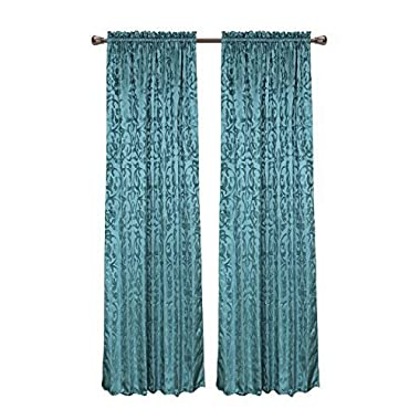 CaliTime Window Curtain Panel 56 X 84 Inches 1 PC, Vintage Damask Floral, Teal