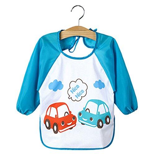 Super1798 Lindo dibujos animados, delantal impermeable para bebé, manga larga, baberos para alimentación, Vehicle