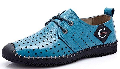 Bleu Sandales Simili Confortable Marcher Chaussure 38 pour LFEU Respirant 44 Ajouré Antichoc Cuir Homme Tendance Jogging Mocassins 1w4apfxn