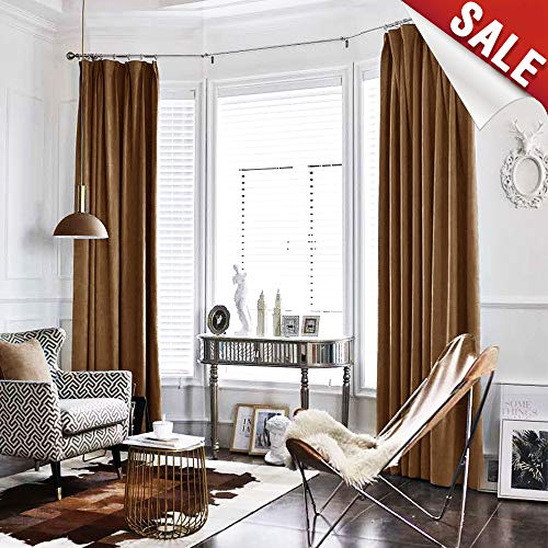 Velvet Curtain Gold Brown Living Room Rod Pocket Window Curtain Panel 95 inch Long Bedroom Thermal 1 Panel