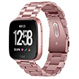 for Fitbit Versa Rose Gold Band, VIGOSS Solid Stainless Steel Fitbit Versa Metal Bands Business Strap Replacement Bracelet Accessories Wristband for Fitbit Versa SmartWatch 5.5''-8.2'' (Metal Rose Gold)