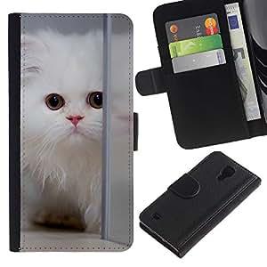 For SAMSUNG Galaxy S4 IV / i9500 / i9515 / i9505G / SGH-i337,S-type® White Persian Longhair Cat Kitten Fluffy - Dibujo PU billetera de cuero Funda Case Caso de la piel de la bolsa protectora