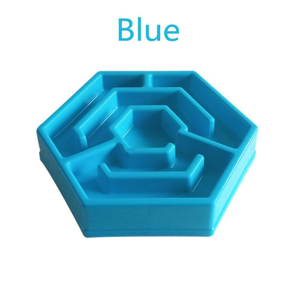bluee NYDZDM Plastic Pet Feeder Anti Choke Dog Bowl Puppy Slow Eating Dish Cat Eatting Feeder Healthy Diet Dish Jungle Design (color   bluee)