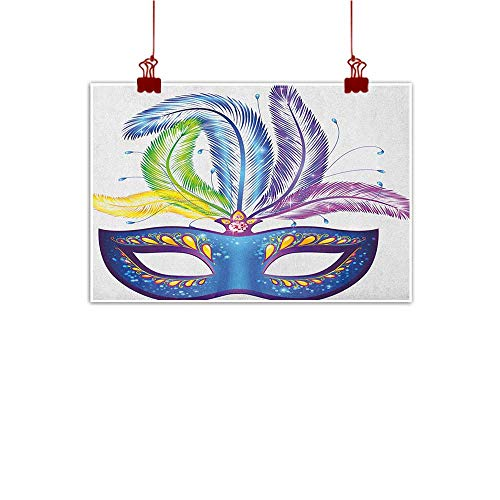 (Decorative Music Urban Graffiti Art Print Mardi Gras,Blue Ornate Venetian Festival Mask with Feathers Masquerade Parade Preparations, Multicolor 32