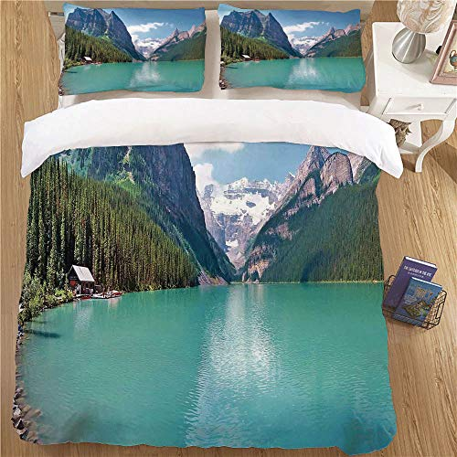 Bedding Set with Pillow Shams,Full Size,3 Piece Soft Kids Bedding Sets Lake House Decor Mountain and Lake Louise Panorama in Banff National Park Alberta Canada Turquoise Blue