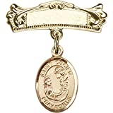 14kt Yellow Gold Baby Badge with St. Cecilia Charm and Arched Polished Badge Pin 7/8 X 3/4 inches