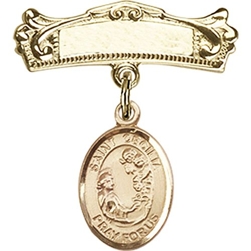 14kt Yellow Gold Baby Badge with St. Cecilia Charm and Arched Polished Badge Pin 7/8 X 3/4 inches by Unknown