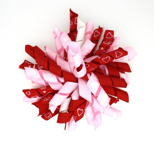 Boutique Curly Korker Hair Bow 4 Inch (Valentine's Pink/Red)
