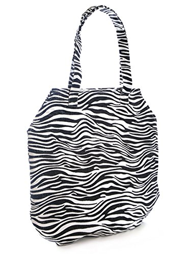 Beach Ideal Zebra Flat Print Holiday Packable Folds Bag Pool Black Canvas Swim Shopper Shopping qg7XX6W0p
