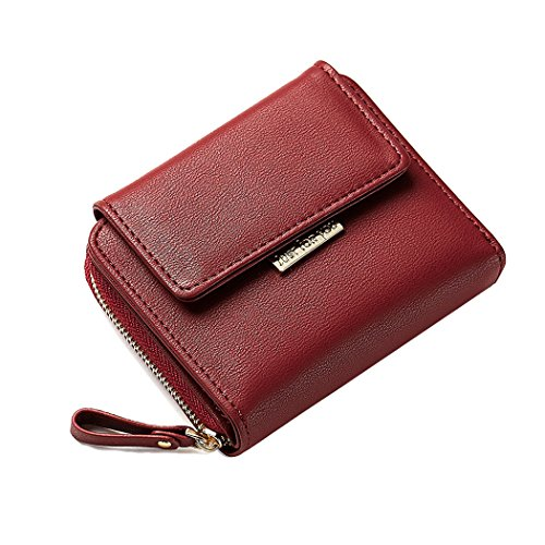 (Compact Bifold Leather Pocket Zipper Around Wallet Mini Purse Ladies Elegant Clutch Card Coin Pouch)