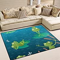 Aideess Water Lily Funny Frog Non-Slip Area Rug Pad 7 x 5, Home Protect Indoor Floors Thick Rug Pad Making Vacuuming Easier