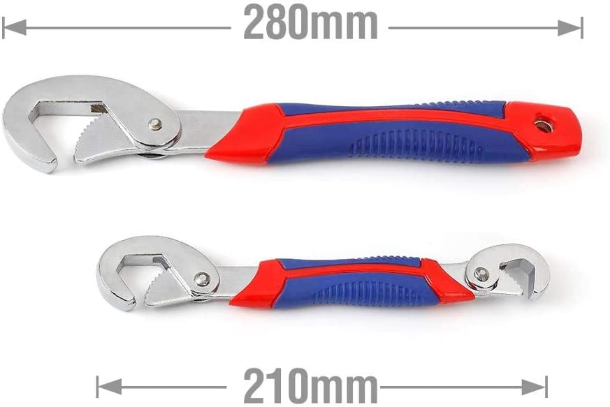 ZKAIAI Wrench Multifunctional Universal Movable Wrench Fast Adjustable Wrench Water Pipe Clamp Repair Tool Set Color : 2PC