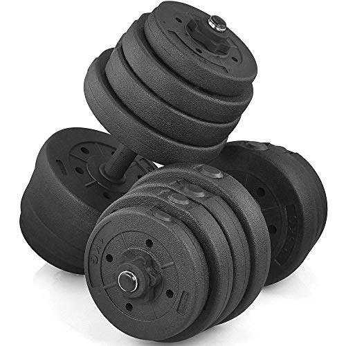 Yaheetech Dumbbells Set 30KG Adjustable Dumbbells Weight Set for Men and Women with Solid Chrome Finish Bar for Home…
